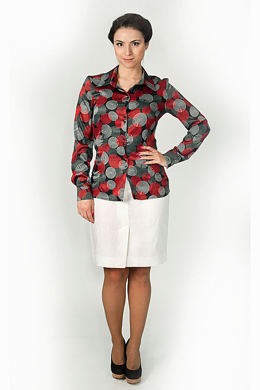 Blouses handmade. Livemaster - handmade. Buy Blouse 006.Red, classic blouse, red circles