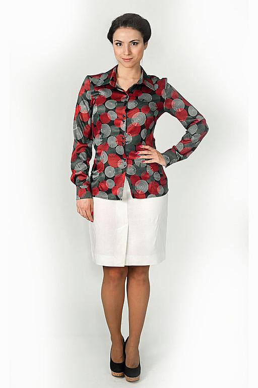 Блузки ручной работы. Ярмарка Мастеров - ручная работа. Купить Блузка 006. Handmade. Блузка, блузка для фиса, красные круги