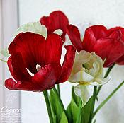 Цветы и флористика ручной работы. Ярмарка Мастеров - ручная работа Тюльпаны  красные. Handmade.