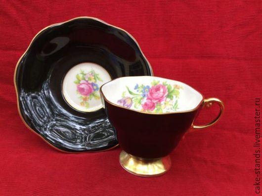 Винтажная посуда. Ярмарка Мастеров - ручная работа. Купить Розы Чайная Парa Черная Чашкa Блюдцe, Фарфор, Англия. Handmade.
