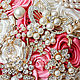 Свадебные цветы ручной работы. Брошь-букет АЙВОРИ+КОРАЛЛ. Марина Бруня. Ярмарка Мастеров. Букет невесты, коралловый букет, шёлк