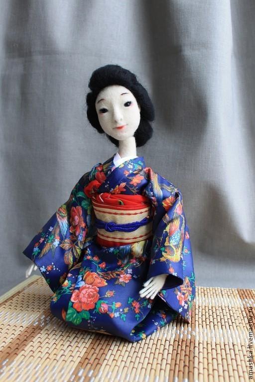 """Коллекционные куклы ручной работы. Ярмарка Мастеров - ручная работа. Купить текстильная шарнирная кукла """"Гейко-сан"""". Handmade."""