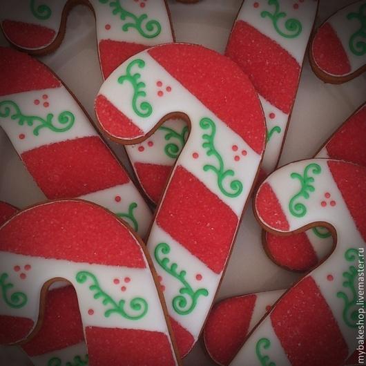"""Кулинарные сувениры ручной работы. Ярмарка Мастеров - ручная работа. Купить """"Рождественская трость"""" новогодние пряники - козули. Handmade. трость"""