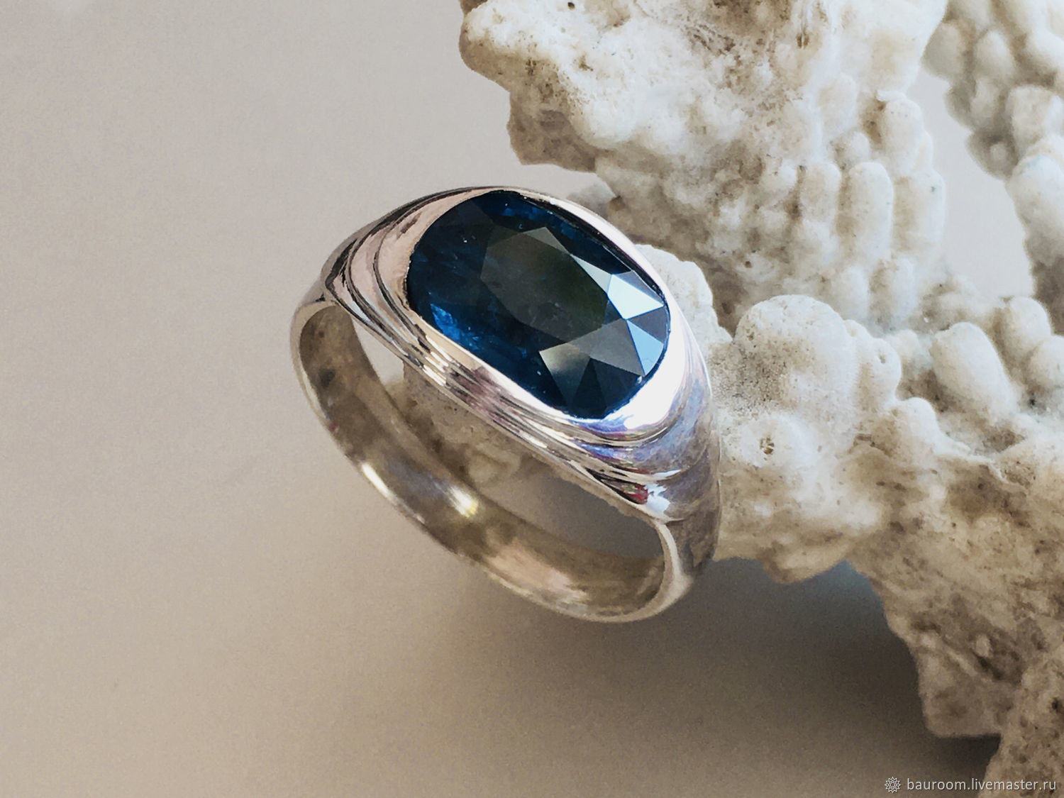 Vedic silver ring with Blue Sapphire (1,89 ct)handmade, Rings, Moscow,  Фото №1