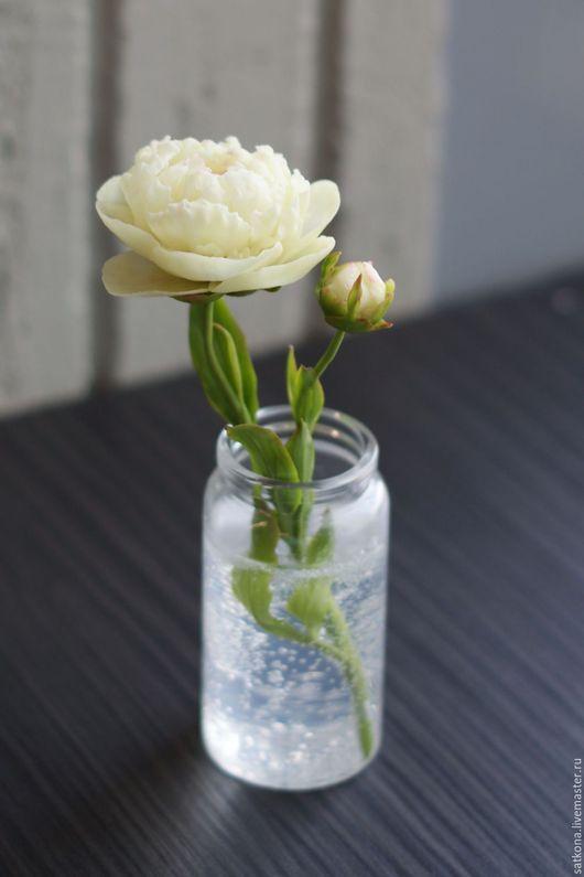 Цветы ручной работы. Ярмарка Мастеров - ручная работа. Купить Кустовой пион с бутоном из полимерной глины с имитацией воды. Handmade.