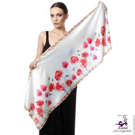 Дизайнер Анна Сердюкова (Дом Моды SEANNA).  Роскошный шелковый шарф `Алые Маки` с авторским принтом.  Размер шарфа 45х140 см.  Цена - 3500 руб.