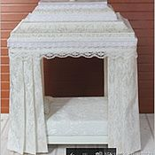 Кровать с балдахином Белая Премиум. Миниатюра для кукол 1:12