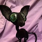 Stuffed Toys handmade. Livemaster - original item Sphynx is a bald black cat. Handmade.