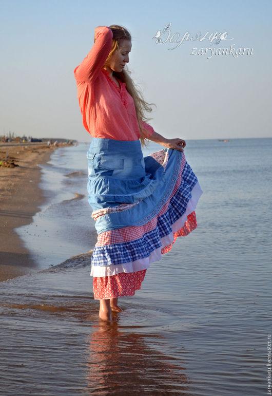 Юбки ручной работы. Ярмарка Мастеров - ручная работа. Купить Юбка и блузка Нежность моря юбка из джинса. Handmade.
