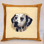 handmade. Livemaster - original item Pillow with the image of a dog Dolmatian to buy. A gift with a dog.. Handmade.