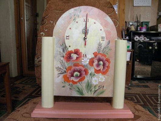 """Часы для дома ручной работы. Ярмарка Мастеров - ручная работа. Купить Часы """"Маки"""". Handmade. Кремовый, роспись, маки"""
