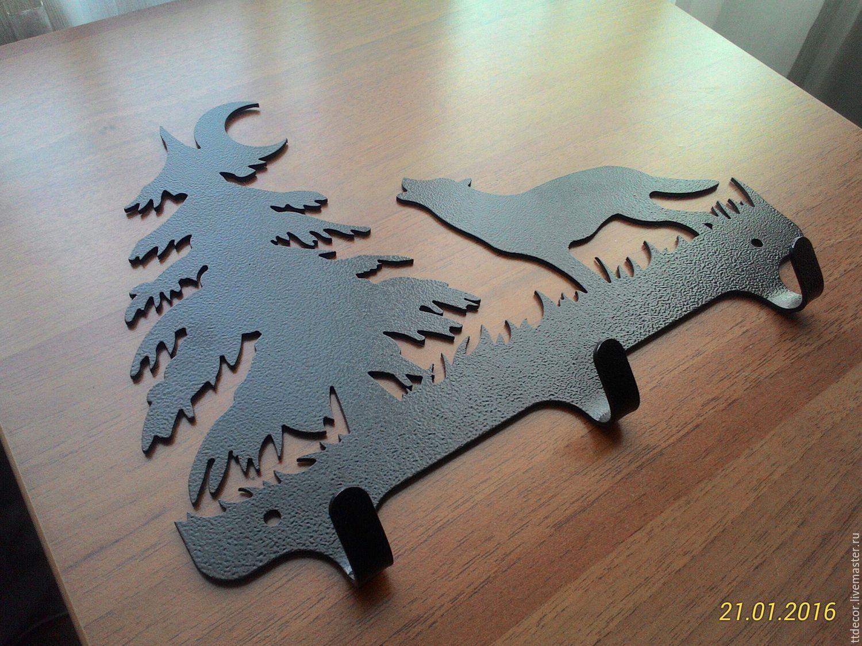"""Прихожая ручной работы. Ярмарка Мастеров - ручная работа. Купить Ключница-Вешалка """"Ночной волк"""". Handmade. Волк, луна, сталь"""
