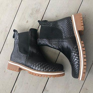 Обувь ручной работы. Ярмарка Мастеров - ручная работа Челси «черная кожа/чёрная рептилия». Handmade.