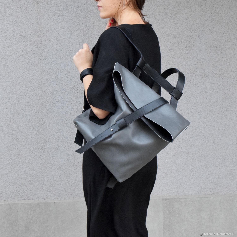 Серо-черный кожаный ассиметричный рюкзак, Рюкзаки, Львов, Фото №1