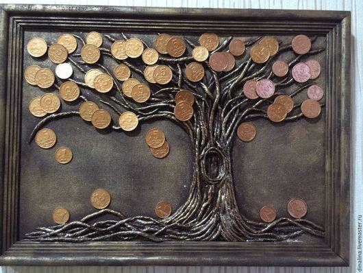 Символизм ручной работы. Ярмарка Мастеров - ручная работа. Купить Денежное дерево. Handmade. Коричневый, талисман, сувенир, салфетка