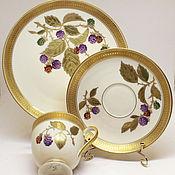 handmade. Livemaster - original item Painted porcelain. Tea trio