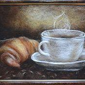 """Картины и панно ручной работы. Ярмарка Мастеров - ручная работа """"Кофе с круассаном"""". Handmade."""