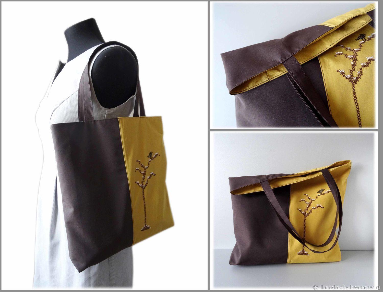 """Эко-сумка непромокаемая """"Птица на ветке"""" - авоська, коричневая сумка"""