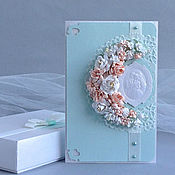 Свадебный салон ручной работы. Ярмарка Мастеров - ручная работа Свадебная открытка в коробочке и с конвертом. Мятно-персиковая. Handmade.