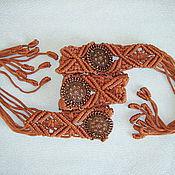 """Аксессуары ручной работы. Ярмарка Мастеров - ручная работа """"Амазонка"""", плетёный пояс, коричневый, макраме. Handmade."""