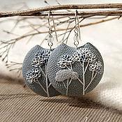Украшения handmade. Livemaster - original item Gray round earrings made of polymer clay. Handmade.
