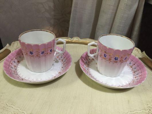 """Винтажная посуда. Ярмарка Мастеров - ручная работа. Купить Кузнецов,""""розовый тет-а-тет"""", кофейно/ чайные пары, 2 штуки с блюдцами. Handmade."""