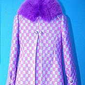 """Одежда ручной работы. Ярмарка Мастеров - ручная работа Зимнее пальто в клетку """"2"""" На тёплой подкладке с меховым воротником. Handmade."""