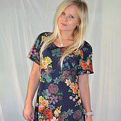 Одежда handmade. Livemaster - original item jersey dress with floral print. Handmade.