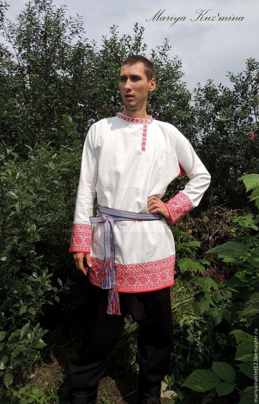 Одежда ручной работы. Ярмарка Мастеров - ручная работа. Купить Мужская праздничная рубаха. Handmade. Белый, традиционный, ткань двунитка