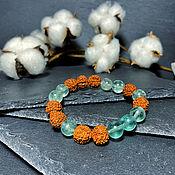 Украшения handmade. Livemaster - original item Bracelet made of Rudraksha and Fluorite. Handmade.