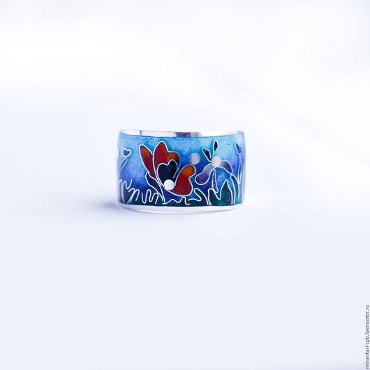 """Кольца ручной работы. Ярмарка Мастеров - ручная работа. Купить Кольцо на мизинец """"Летнее настроение"""" серебряное с эмалью. Минанкари. Handmade."""