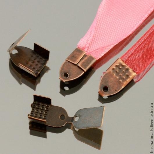 Концевики-зажимы с зубчиками для лент и шнуров цвета Медь комплектами по 20 штук для использования в сборке украшений ручной работы