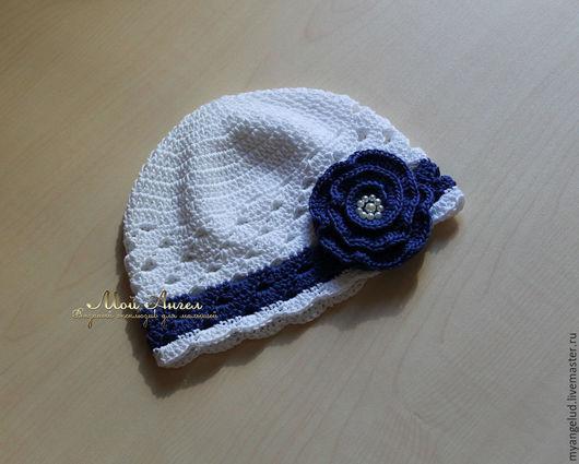 """Шапки и шарфы ручной работы. Ярмарка Мастеров - ручная работа. Купить Летняя шапочка """"Blue flower"""". Handmade. Белый"""