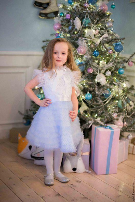 Одежда для девочек, ручной работы. Ярмарка Мастеров - ручная работа. Купить Платье для девочки. Handmade. Голубой, звездочка, хлопок 100%