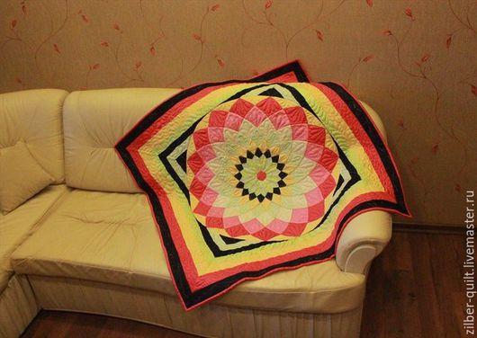 Текстиль, ковры ручной работы. Ярмарка Мастеров - ручная работа. Купить Лоскутный плед Георгин, пэчворк. Handmade. Лоскутный плед