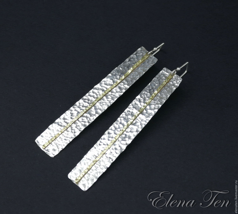 Длинные серьги серебро 925 пробы в стиле футуризм , легкие, сверкающие !