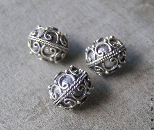 Для украшений ручной работы. Ярмарка Мастеров - ручная работа. Купить Бусина из серебра 925 пробы, Бали СБ4. Handmade.