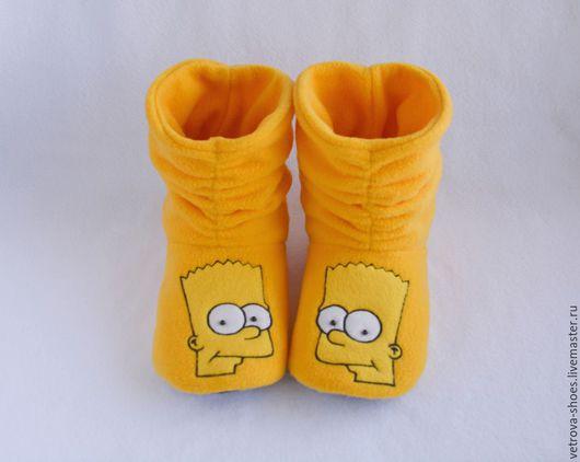 """Обувь ручной работы. Ярмарка Мастеров - ручная работа. Купить Домашние сапожки """"Барт Симпсон"""". Handmade. Желтый, барт симпсон"""