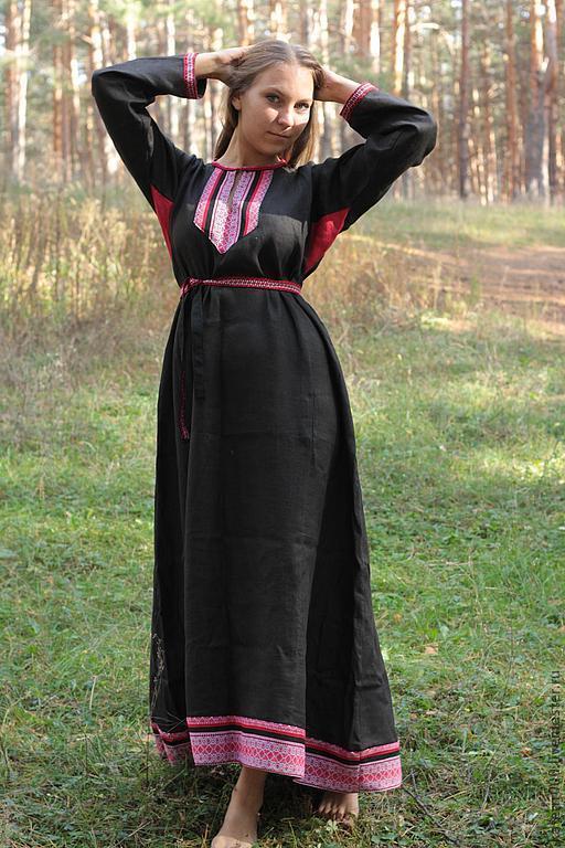 """Этническая одежда ручной работы. Ярмарка Мастеров - ручная работа. Купить Платье """"Берегиня"""" черное. Handmade. Черный, этно стиль"""