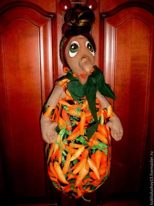 Кухня ручной работы. Ярмарка Мастеров - ручная работа. Купить Пакетница Баба Яга Морковкина. Handmade. Комбинированный, морковка, зеленый