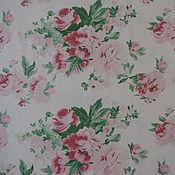 Материалы для творчества ручной работы. Ярмарка Мастеров - ручная работа ткань лен Розовые розы. Handmade.