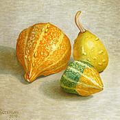 Картины и панно ручной работы. Ярмарка Мастеров - ручная работа Картина акварелью Осенние Игрушки, желтый зеленый оранжевый. Handmade.