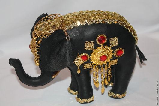 Куклы и игрушки ручной работы. Ярмарка Мастеров - ручная работа. Купить Слон из кожи -волшебный. Handmade. Черный, сувениры и подарки