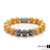 Bead bracelet handmade. Livemaster - original item Baron bracelet from Baltic amber with silver charms. Handmade.
