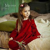 Одежда детская handmade. Livemaster - original item Dress for girls linen elegant red. Handmade.