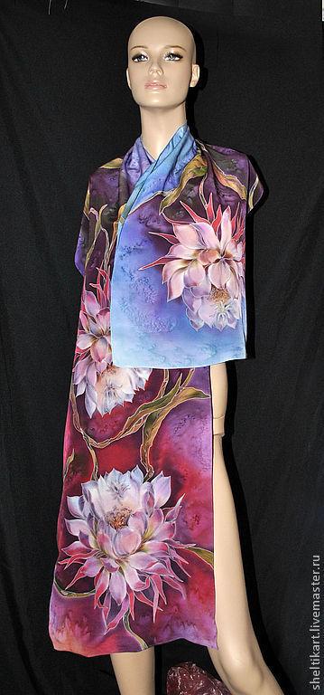 """Шарфы и шарфики ручной работы. Ярмарка Мастеров - ручная работа. Купить Шарф Батик """" Цветущие кактусы"""". Handmade."""