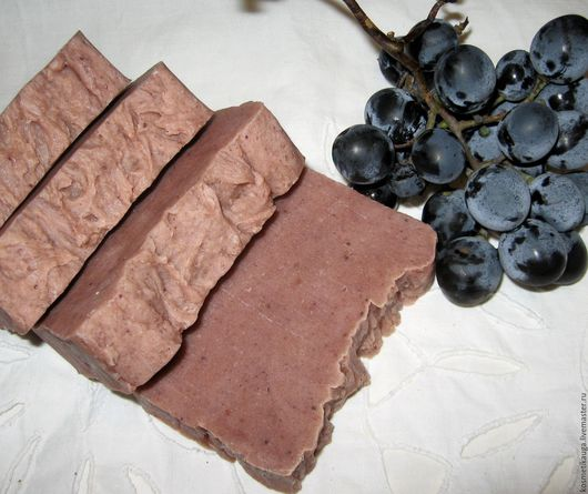 Шелковое мыло с нуля ИЗАБЕЛЛА, с виноградным соком, натуральное.