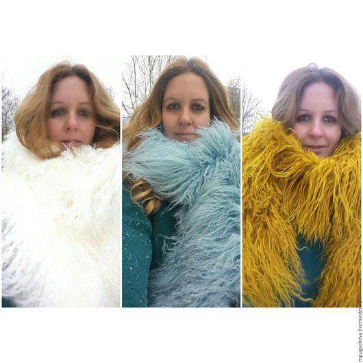 Болеро, шраг ручной работы. Ярмарка Мастеров - ручная работа. Купить Меховой палантин шарф, лама.. Handmade. Комбинированный