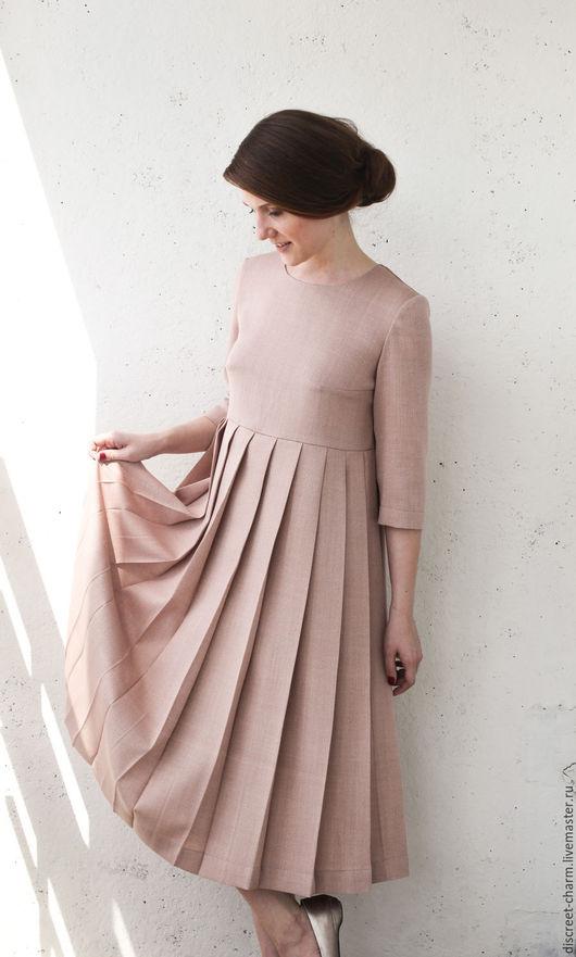 Платья ручной работы. Ярмарка Мастеров - ручная работа. Купить Пыльно-розовое шерстяное платье, плиссированная юбка и длинный рукав. Handmade.