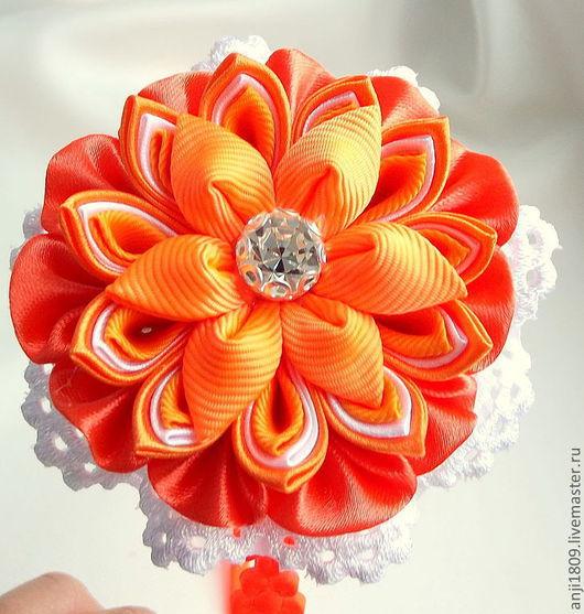 """Диадемы, обручи ручной работы. Ярмарка Мастеров - ручная работа. Купить Цветок канзаши """"Яркость лета"""". Handmade. Оранжевый"""
